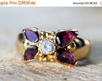 MAYSALE Antique Gold Ring 15ct Garnet Spinel Ladies Victorian c1870 15k FREE SHIPPING Size P.5 / 8