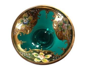 Czech Bohemian Art Glass Footed Bowl Trinket Dish  24K Gold Emerald Green Moser Style