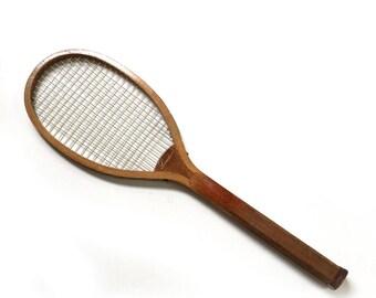 "RARE ANTIQUE Vintage A.G.Spalding & Bros ""LEADER"" Hickory Tennis Racquet"