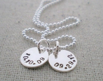 tiny date stamped discs | mommy jewelry | push present | sterling silver mothers necklace | birth dates jewelry | 2 kids | two kids 3/8""