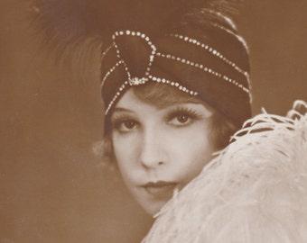 Silent Film Star, Lily Damita, in Turban and Boa, circa 1928 by Alex Binder of Berlin. Ed. Ross Verlag.