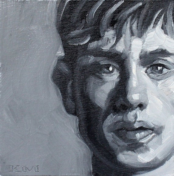 Twink in Monochrome, oil on canvas panel 8x8 inches Kenney Mencher