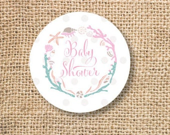 Nautical Baby Girl Shower Printable Favor Circles Pink Maritime Frame Ocean Baby Girl Shower Favor Tags Cupcake Toppers - INSTANT DOWNLOAD