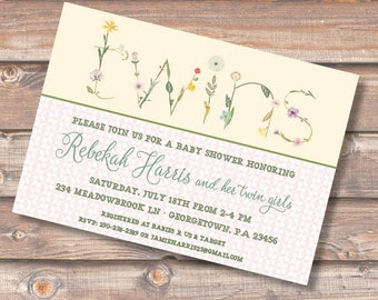 Floral Twins Shower Invitation Floral Yellow Pink Twin Girls Shower Invite Flowers Spring Garden Party Baby Tea Sip and See Invite Floral
