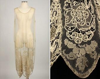 vintage 1920s gatsby dress • handmade filet lace crochet dropped waist dress