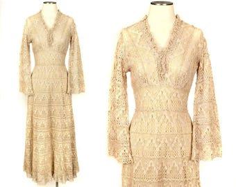 vintage 1970s crochet dress • boho lace bell sleeve maxi dress