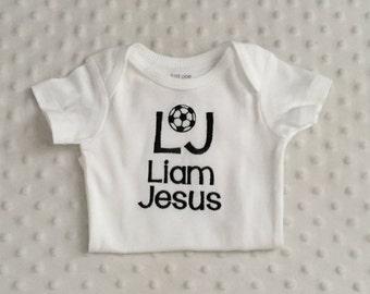 Baby Boy  Personalized  Bodysuit Soccer Theme