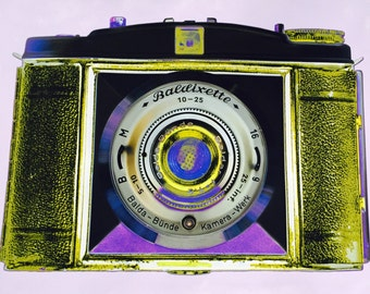 Vintage Camera Art - Baldixette in lavender and yellow, framed