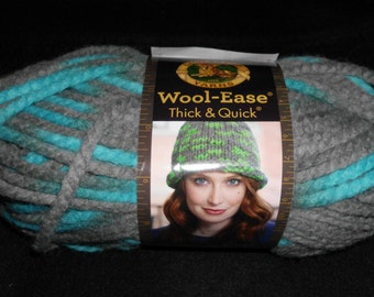 Lion Brand Wool Ease Thick & Quick Yarn   Color= Blue Jay