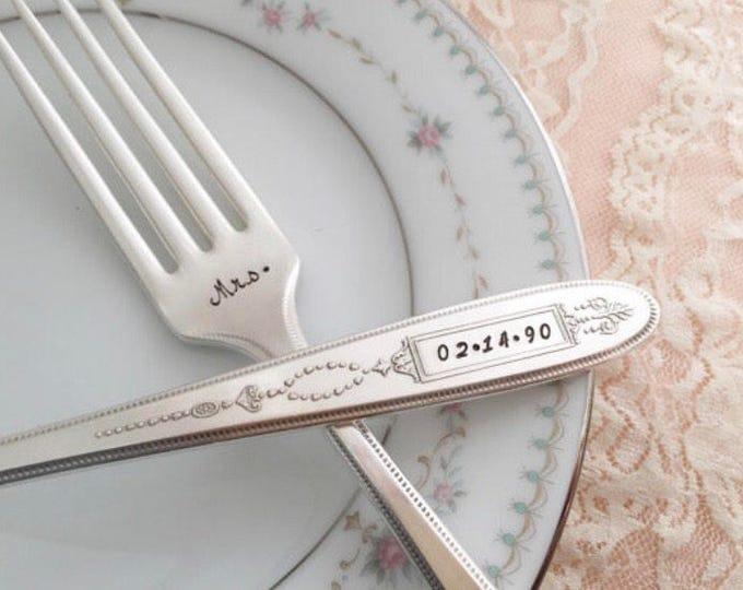 """Mr. & Mrs. Name / date, vintage wedding """"Grosvenor"""" forks, hand stamped"""