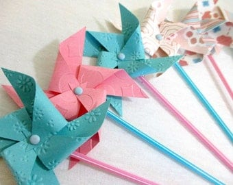 Party Favors Paper Pinwheels Pastel Cupcake Toppers Birthday Decorations Baby Shower Party Decoration Tableware Cake Topper Birthday Favors