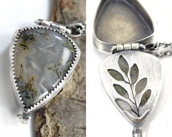 Hidden Sage Locket in Sterling Silver with Moss Agate - Hand Cut Stone Locket - Botanical Jewelry - OOAK Herb Necklace