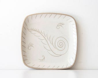 Mid Century Glidden Feather - Sgraffito Pottery Dish