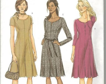 Misses Princess Seamed Dress Flared Pleated Skirt Easy to Sew Sleeve Variations Butterick 4598 Uncut FF Sizes 8-14 Women's Sewing Pattern