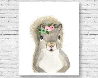 Watercolor squirrel 2 , Woodland nursery set, Animal Paintings, squirrel, nursery decor, woodland, kids posters