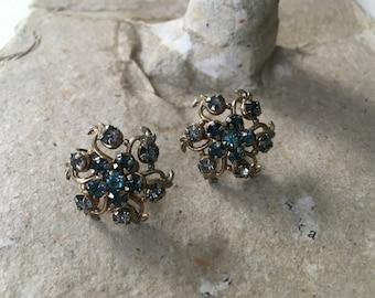 Atomic Flare: Stunning Starburst Screwback Earrings in Gold and Grey-Blue Rhinestone SALEs