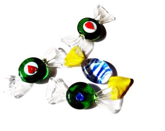 Vintage Italian Glass Candies from Murano/ Vintage Set of 4 Medium Murano Candies/Decorative Glass
