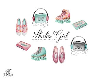Fashion Illustration - 80's Clip Art - Fashion graphics - Skater girl graphics - Commercial use clip art - Planner accessories - MK