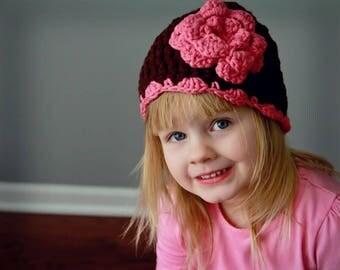 Crochet Flower Beanie Baby Kids CUSTOM COLORS