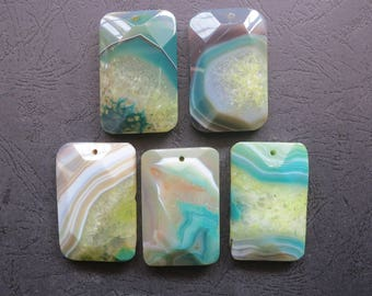 Close Out- AS PICTURED- 5pcs Large Yellow Green Stripe Agate Rectangle Pendant 35x55mm- top drilled