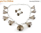Sterling Silver Etruscan Revival Bell Flower Multi-Pendants Necklace and Drop Earrings - Cannetille Wire Work
