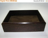 "HOLIDAY SALE Men's Valet. Premium Valet Box in Exotic Wenge. Wooden Tray Upholstered in Suede Fabric. 9"" x 7.5"" x 2.75""."