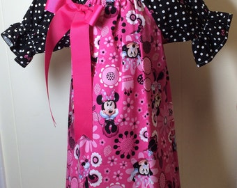 Girls dress mouse head dress pink and black NB 0-3 3-6 6-9 12 and 18 month 2T 3T 4T 5T and 6