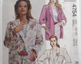 Easy Petite-able Oversized Jacket Sewing Pattern - McCall's 4754 - Size Small (10 -12), Bust 32 1/2 - 34, Uncut