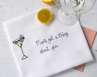 Gin Lover's Gift, Mum's Gift, Thing About Gin Tea Towel, Gin Gift, Personalised Tea Towel, Mother's Day Gift, Gift For Her, Gift For Friend