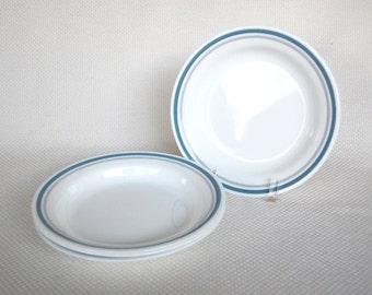Set of 4 Vintage Corelle SLATE Flat Rimmed Bowls Flat Rim Soup Plates Blue and Grey Bands