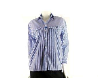 Crisp Striped Shirt, Button Up Blouse, Vintage 1980s, 40 Inch Chest, Fits Small Medium, XLNT