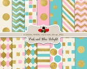 Perfect Pink and Cream with Gold and Blue Digital Papers for personal and commercial use - Pink and Blue Delight