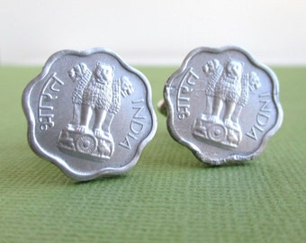 India Coin Cuff Links - Vintage Silver Tone Coins, Repurposed