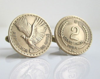 CHILE Coin Cuff Links - Gold Repurposed Coins, Attractive Designs