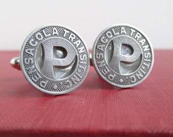 PENSACOLA Transit Token Cuff Links - Repurposed / Upcycled Vintage Coins
