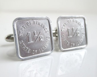State of Illinois Token Cuff Links - Vintage Repurposed Coins / Dept. of Finance Tax Tokens