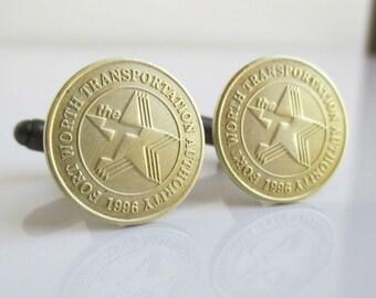 FORT WORTH Transit Token Cuff Links - Repurposed Vintage Brass Coins