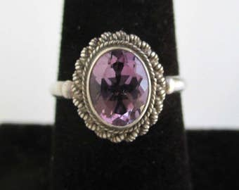 925 Sterling Silver & Amethyst Stone Ring - Vintage Unused, Size 7 3/4