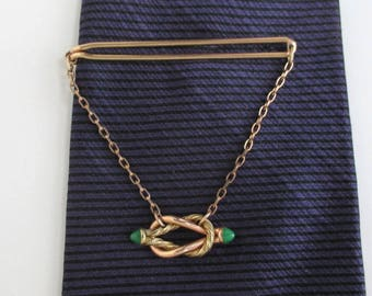 Yelow & Rose Gold Tie Bar / Tie Clasp / Tie Clip with Green Bullet Ends - Vintage, Correct Quality