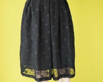 black chiffon pleated skirt