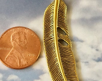 Feather Pendant Gold Pewter Curved