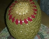 Reserved for Eli...Hat Mandala Crochet Original Design, Rustic Yellow, Old Gold, Yellow and Red