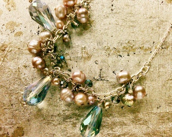 Siren's Delight Crystal And Freshwater Pearl Necklace
