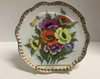 Vintage Hand Painted Floral Flower Plate Gold Trim Floral Plate