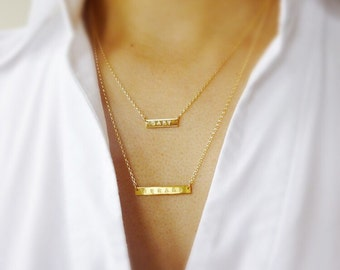 Double Layer Necklace,Layered Name Necklace,Layered Bar Necklace,Layered Initial Necklace,Rose Gold Layered Necklace,Gift For Mom,Momentusny