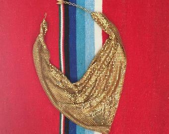 Vintage Whiting & Davis Gold Mesh Bib Necklace