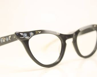 Unused Floral Black and Gray cat eye eyeglasses vintage cat eye glasses frames Cateye frames NOS