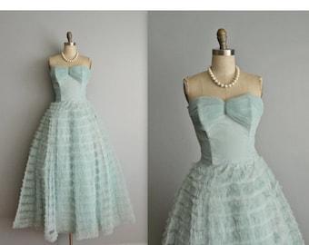 STOREWIDE SALE 50's Prom Dress / Vintage 1950's Strapless Shelf Bust Aqua Tulle Prom Wedding Party Cupcake Dress XS