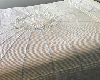 Vintage Chenille Bedspread Floral Pastel Colours 90 x 94 Inch Heirloom Soft Blanket