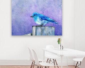 Watercolor Painting - Bluebird Bliss Wildlife Bird Art Print